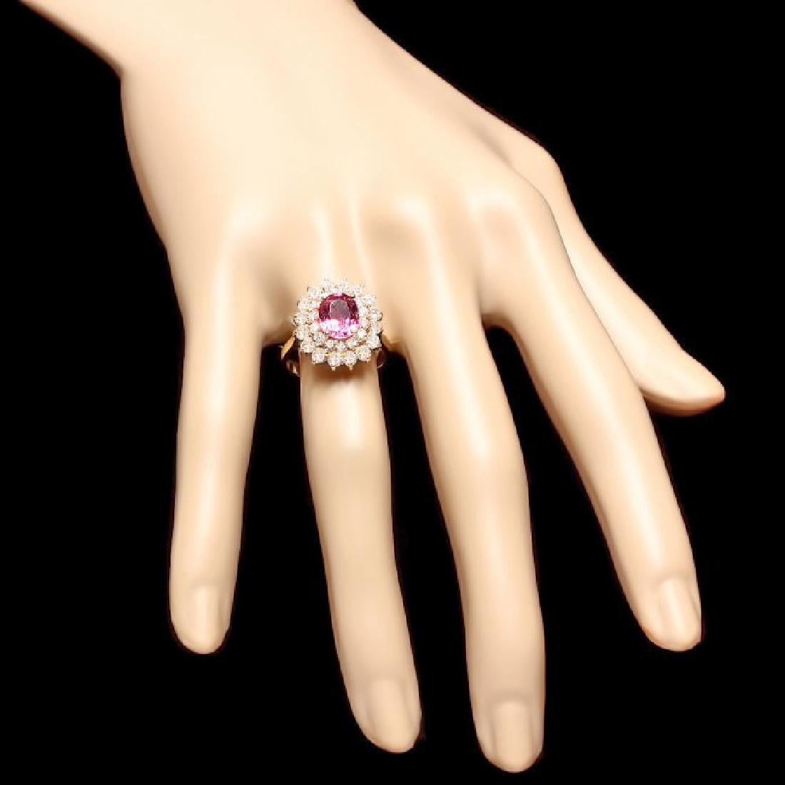 14k Gold 2ct Tourmaline 1.70ct Diamond Ring - 4