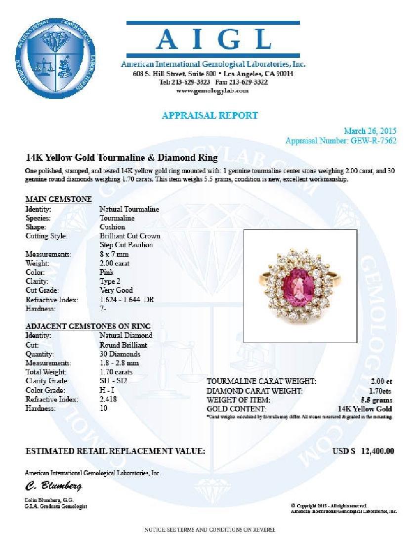 14k Gold 2ct Tourmaline 1.70ct Diamond Ring - 5