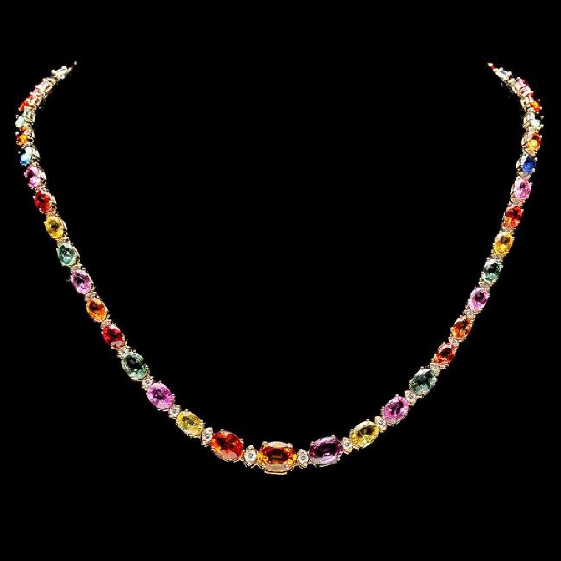 14k Gold 33ct Sapphire 1.2ct Diamond Necklace