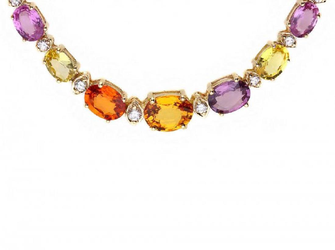 14k Gold 33ct Sapphire 1.2ct Diamond Necklace - 2
