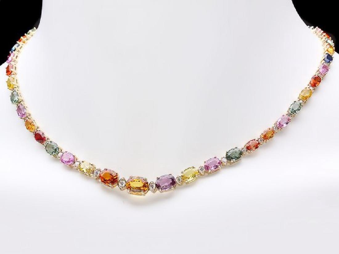 14k Gold 33ct Sapphire 1.2ct Diamond Necklace - 3