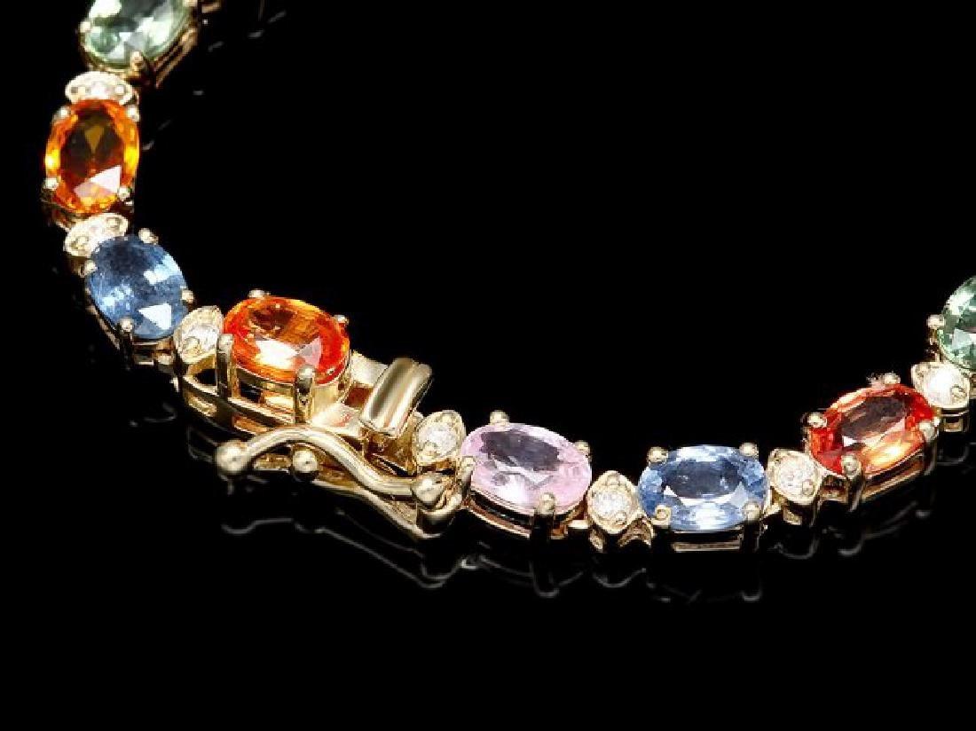 14k Gold 33ct Sapphire 1.2ct Diamond Necklace - 4