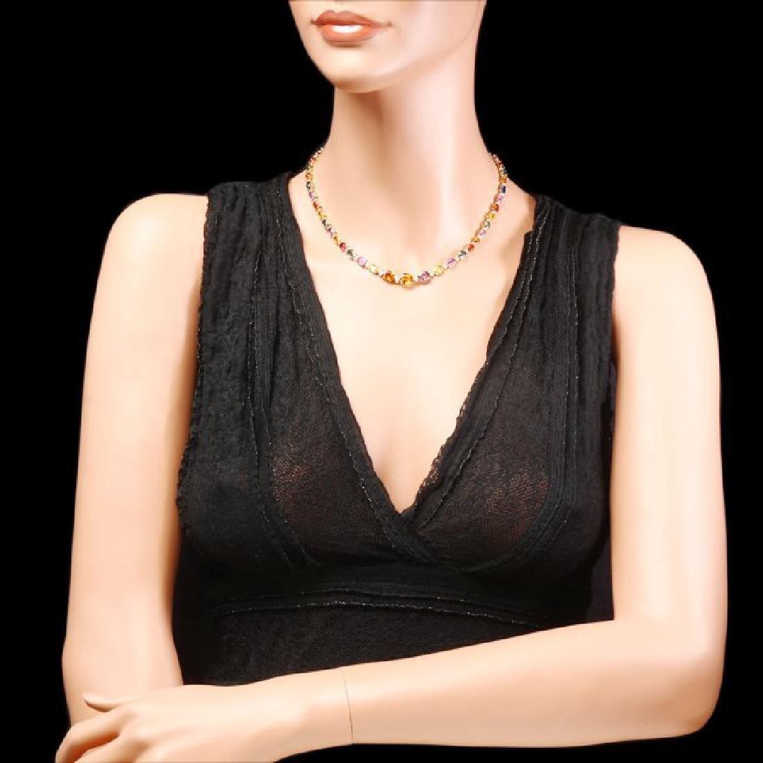14k Gold 33ct Sapphire 1.2ct Diamond Necklace - 5