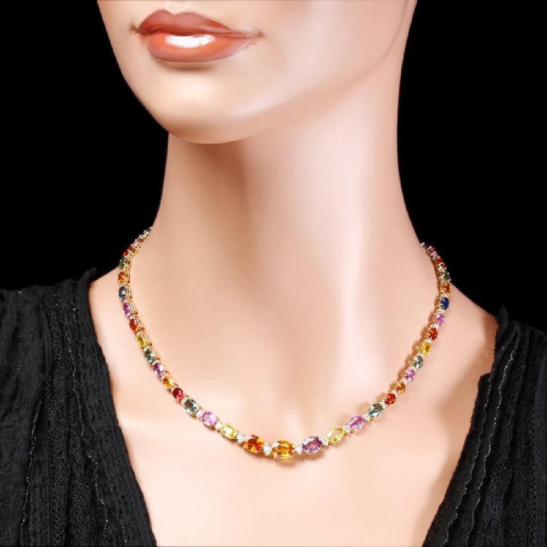 14k Gold 33ct Sapphire 1.2ct Diamond Necklace - 6