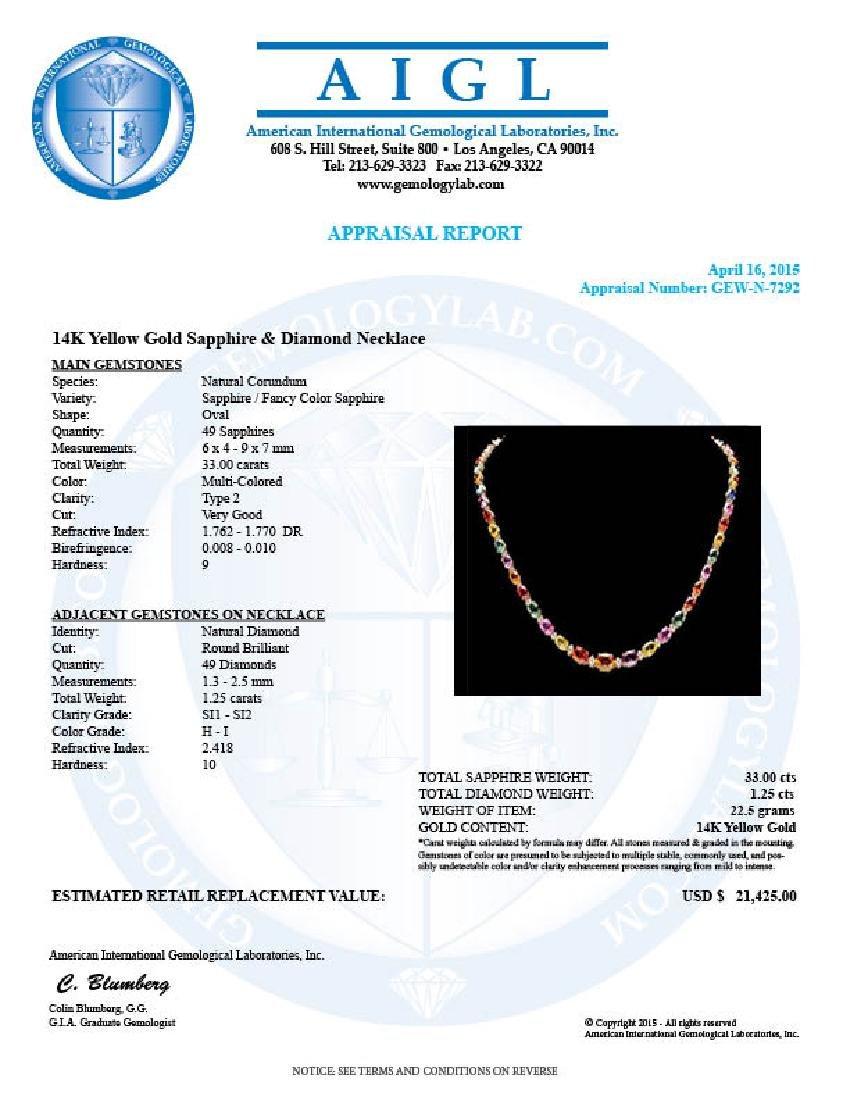 14k Gold 33ct Sapphire 1.2ct Diamond Necklace - 7
