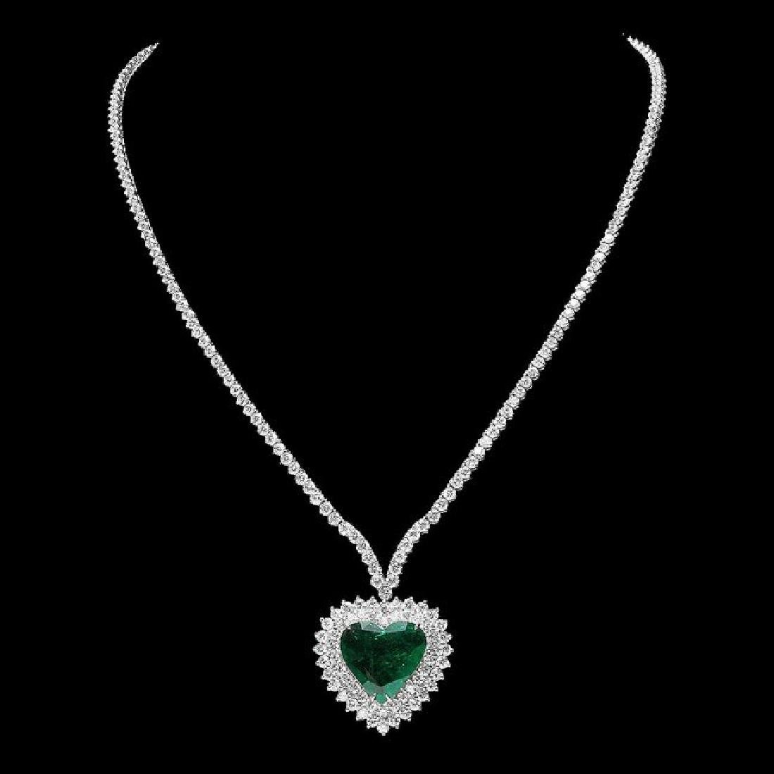 18k Gold 7.80Ct Emerald 11.50Ct Diamond Pendant