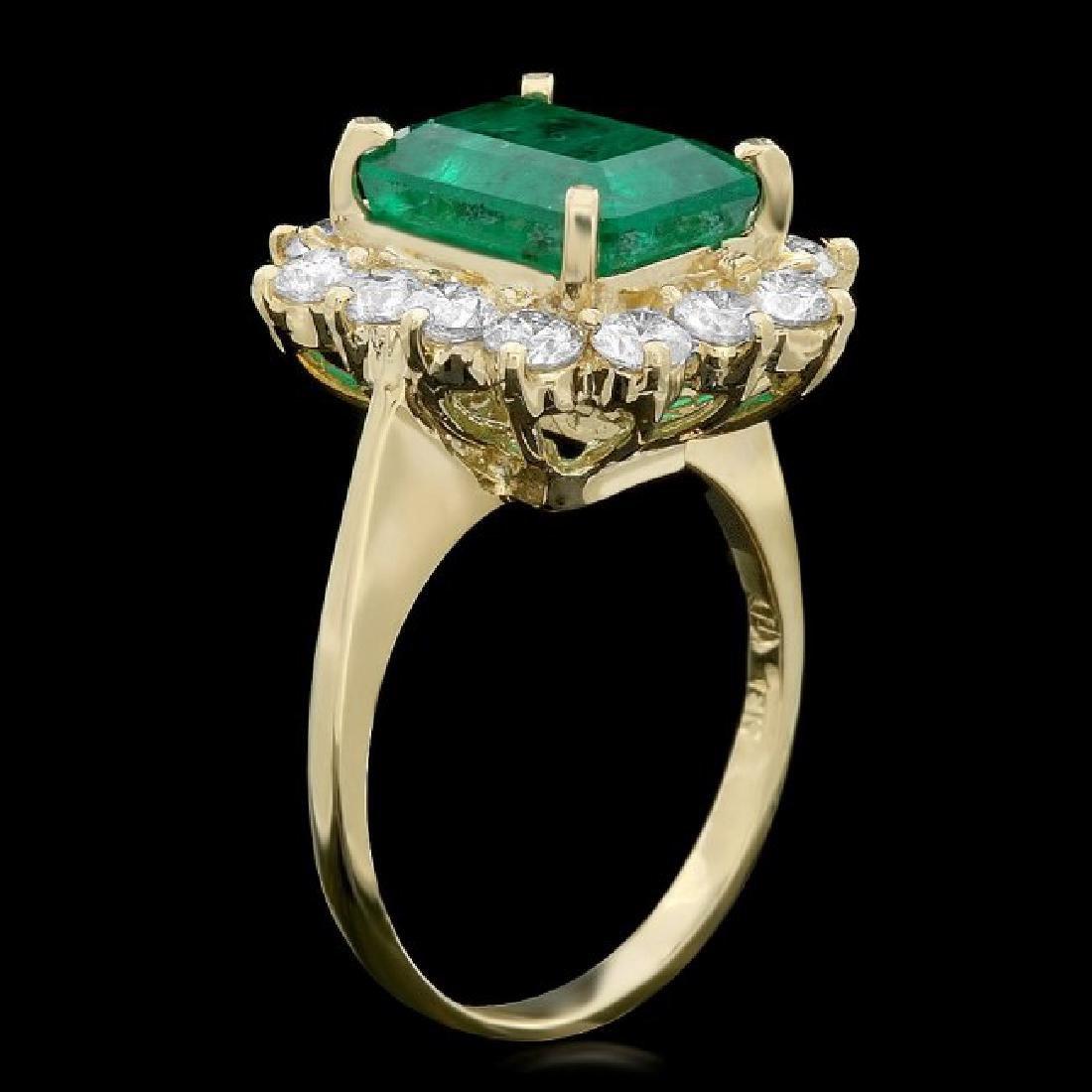 18k Gold 3.50ct Emerald 1.30ct Diamond Ring - 2