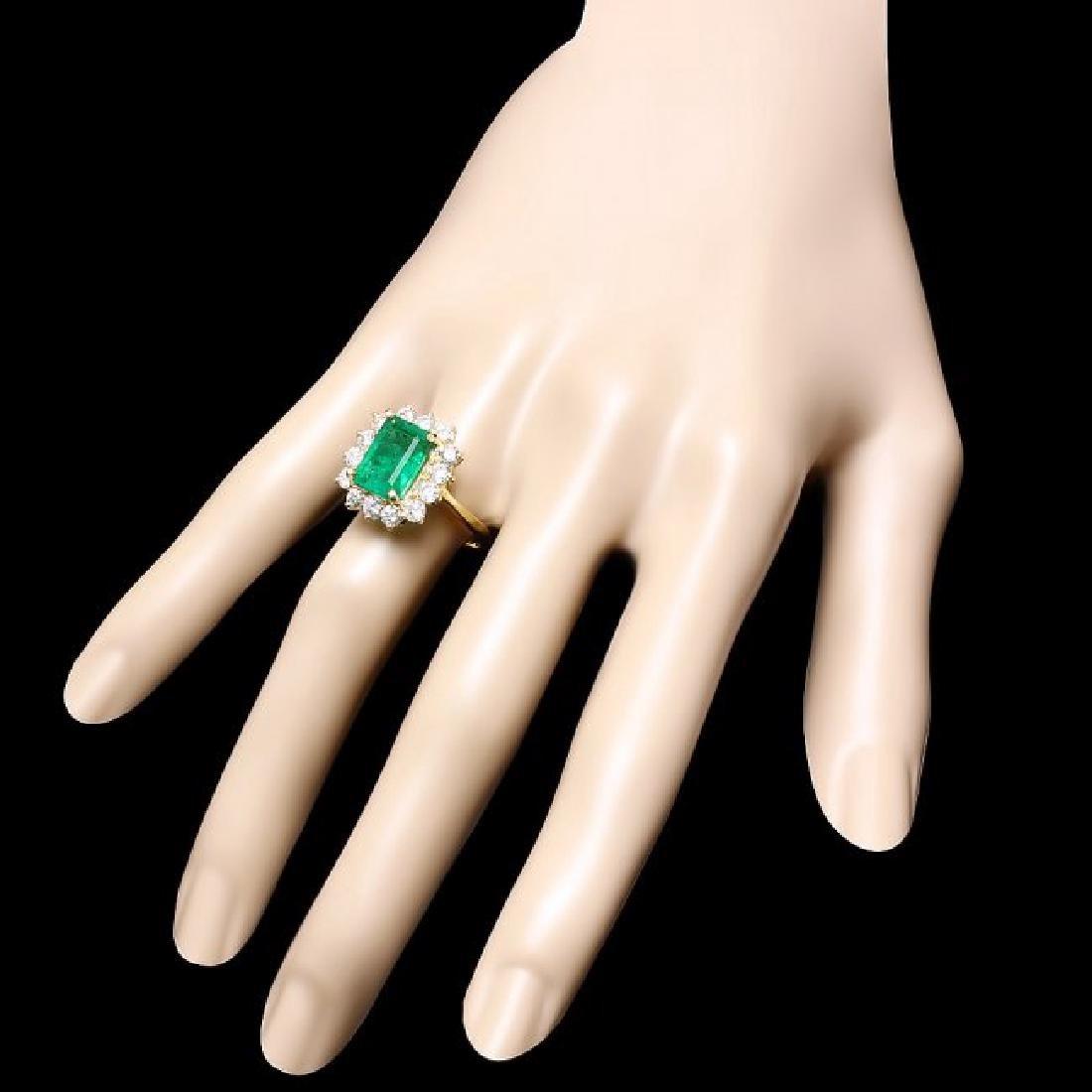 18k Gold 3.50ct Emerald 1.30ct Diamond Ring - 3