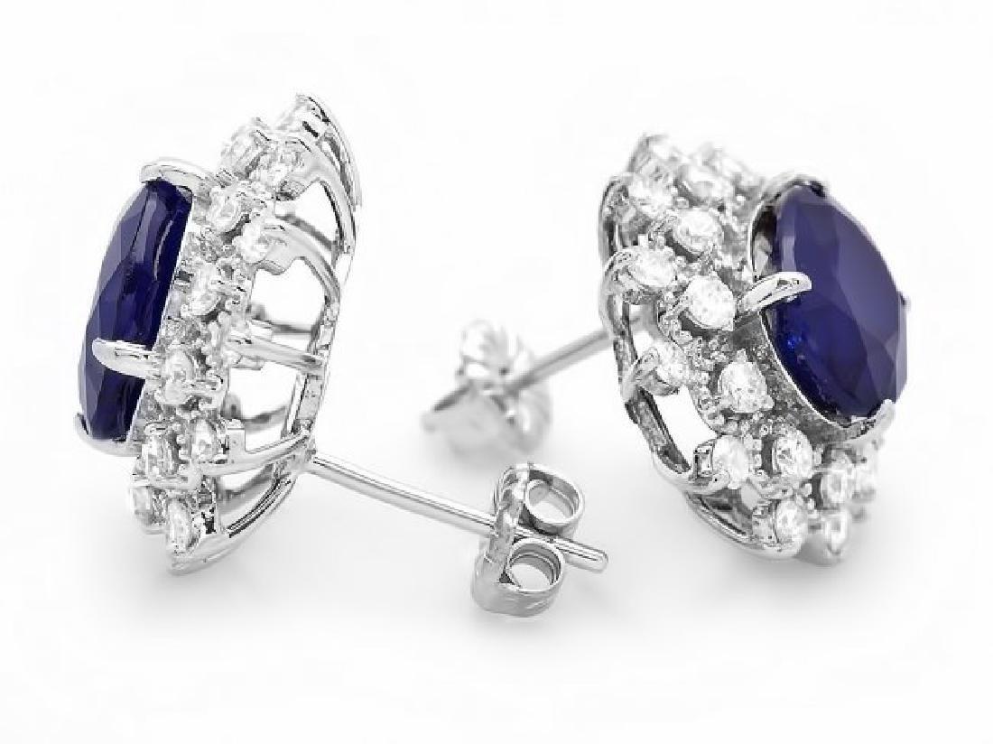 14k Gold 6ct Sapphire 1.30ct Diamond Earrings - 2