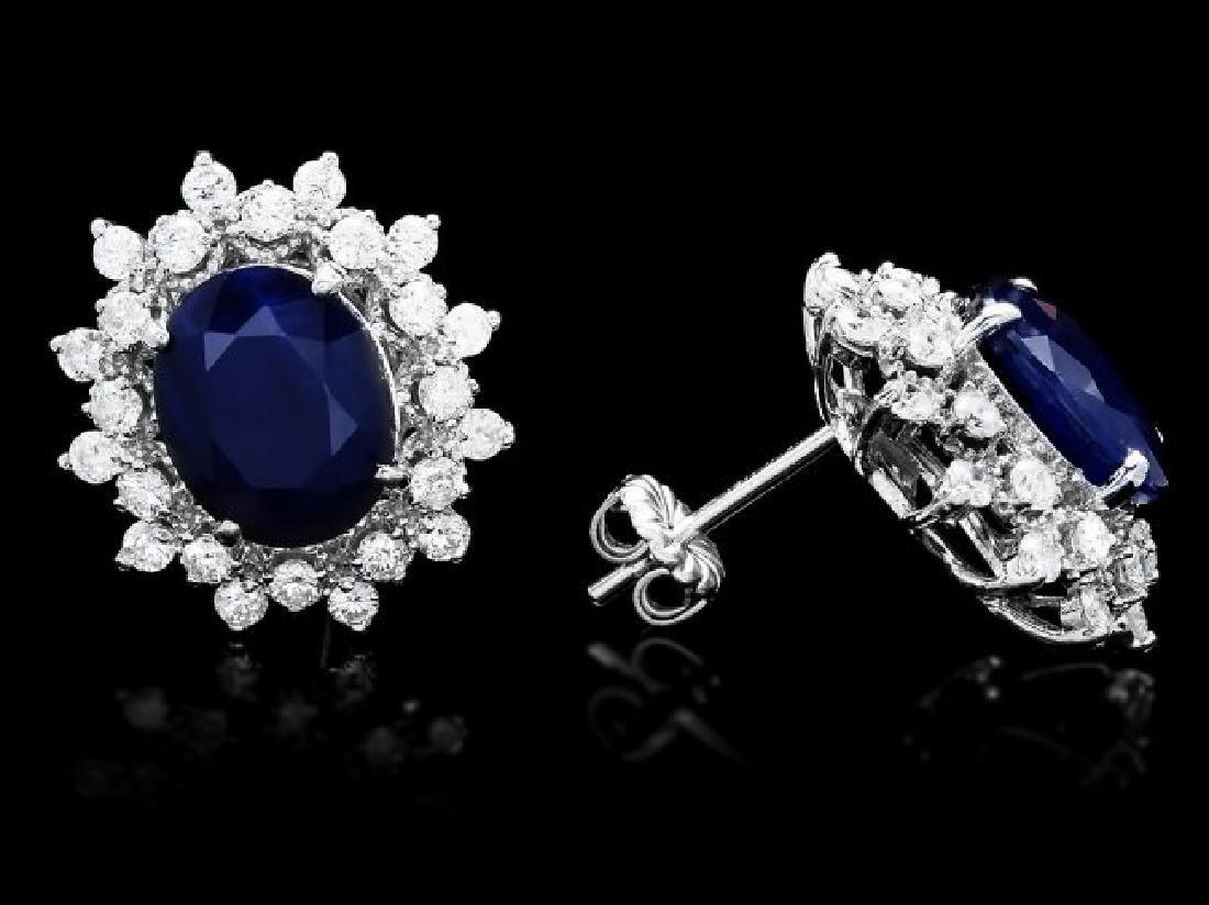 14k Gold 6ct Sapphire 1.30ct Diamond Earrings - 3