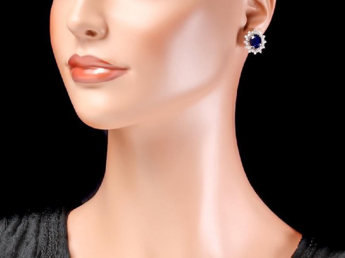 14k Gold 6ct Sapphire 1.30ct Diamond Earrings - 4