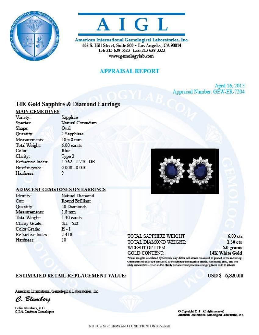 14k Gold 6ct Sapphire 1.30ct Diamond Earrings - 5