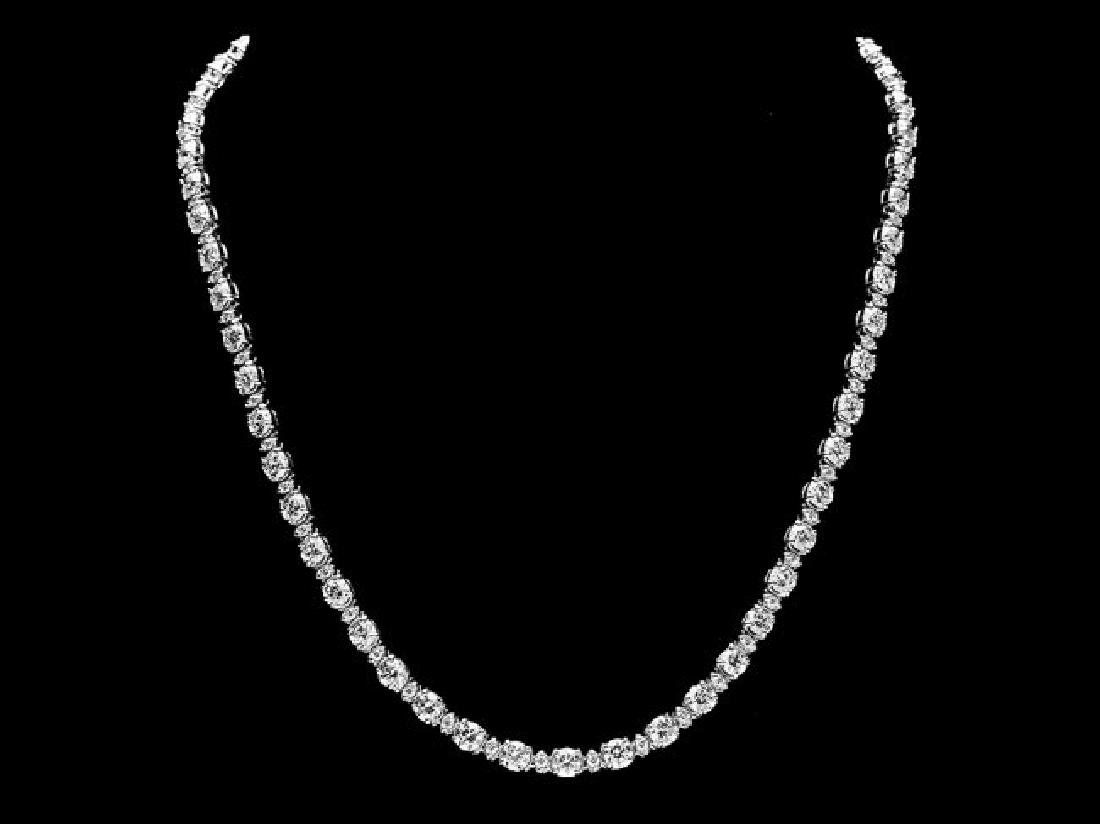18k White Gold 17ct Diamond Necklace - 2
