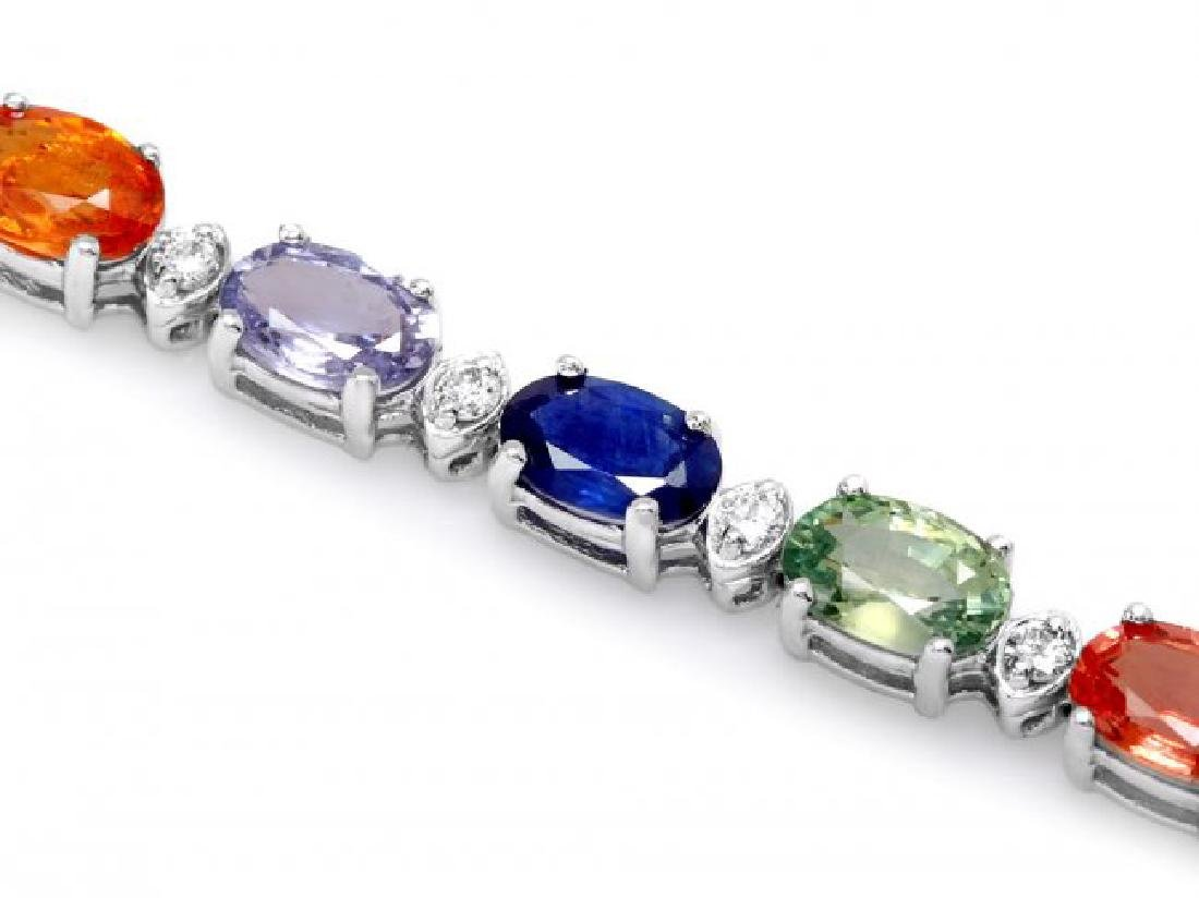 14k Gold 15ct Sapphire 0.35ct Diamond Bracelet - 2