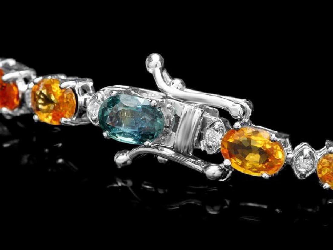 14k Gold 15ct Sapphire 0.35ct Diamond Bracelet - 3