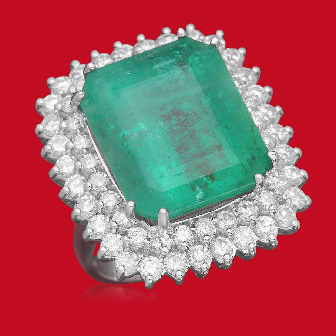 14K Gold 19.12 Emerald 2.75 Diamond Ring