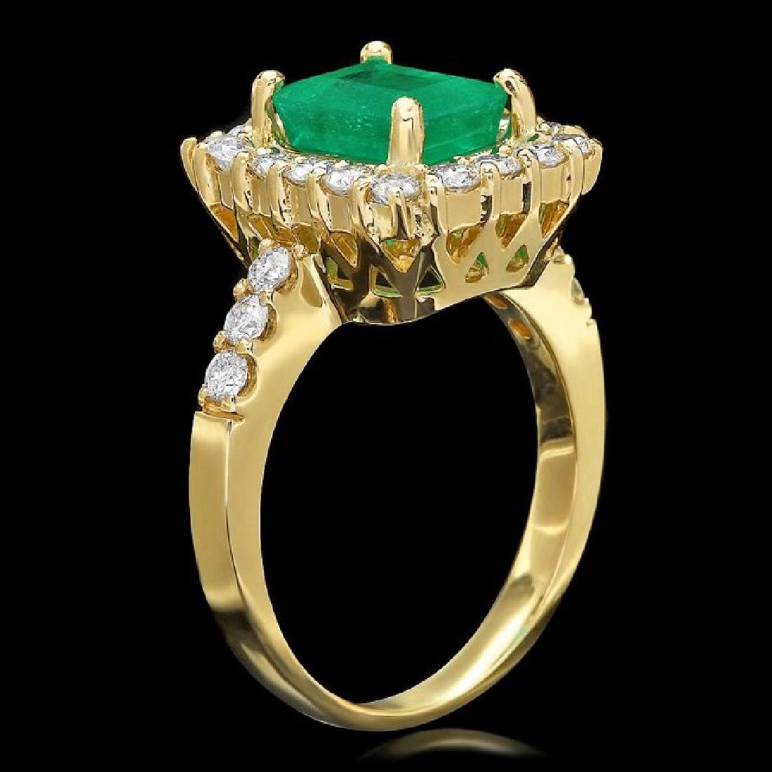 14k Gold 1.90ct Emerald 1.00ct Diamond Ring - 2