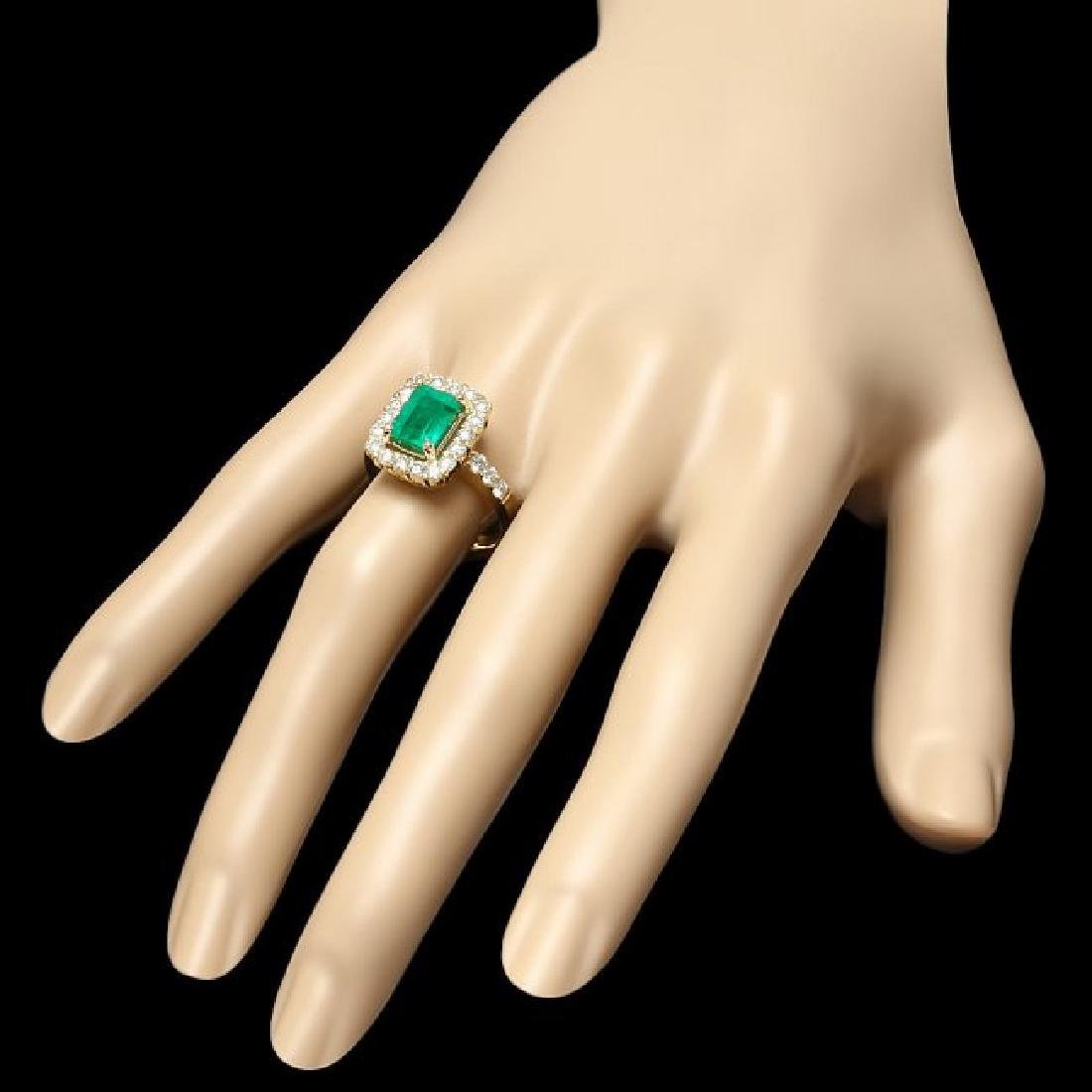14k Gold 1.90ct Emerald 1.00ct Diamond Ring - 3