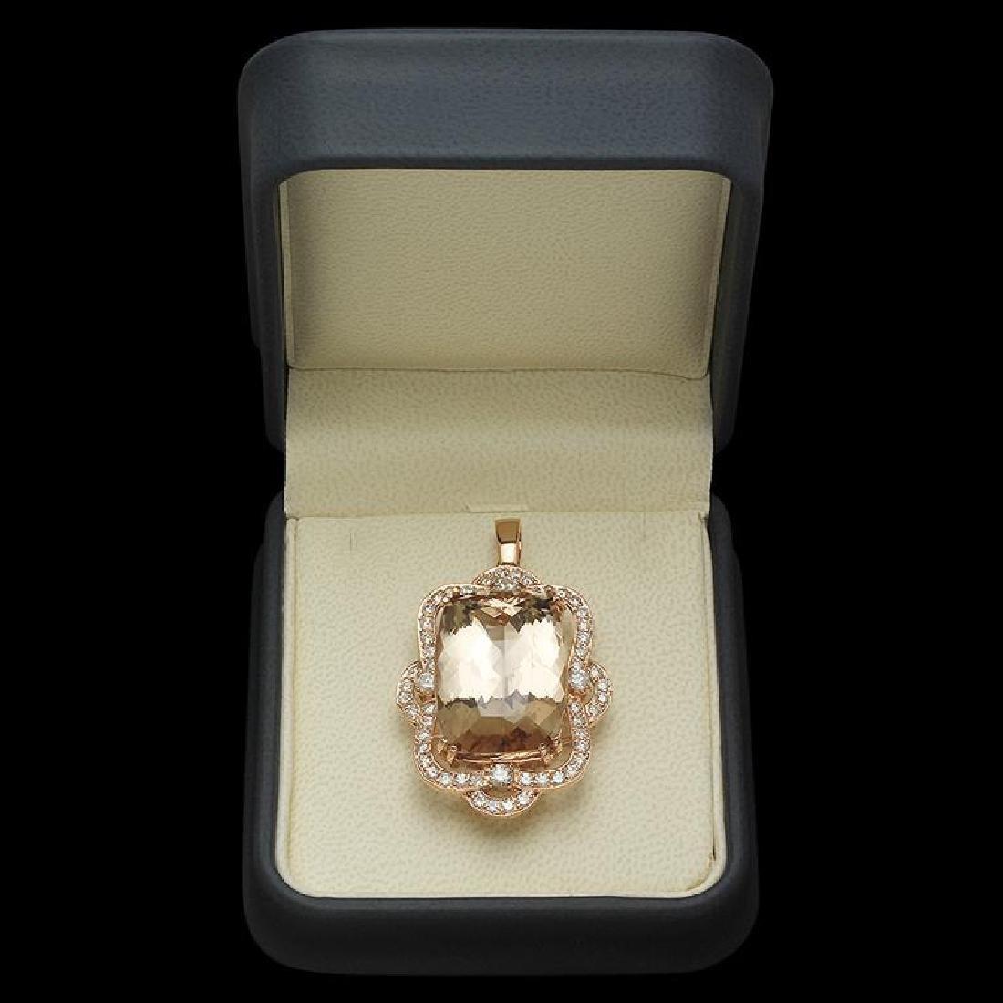14K Gold 33.52ct Morganite 1.95ct Diamond Pendant - 2