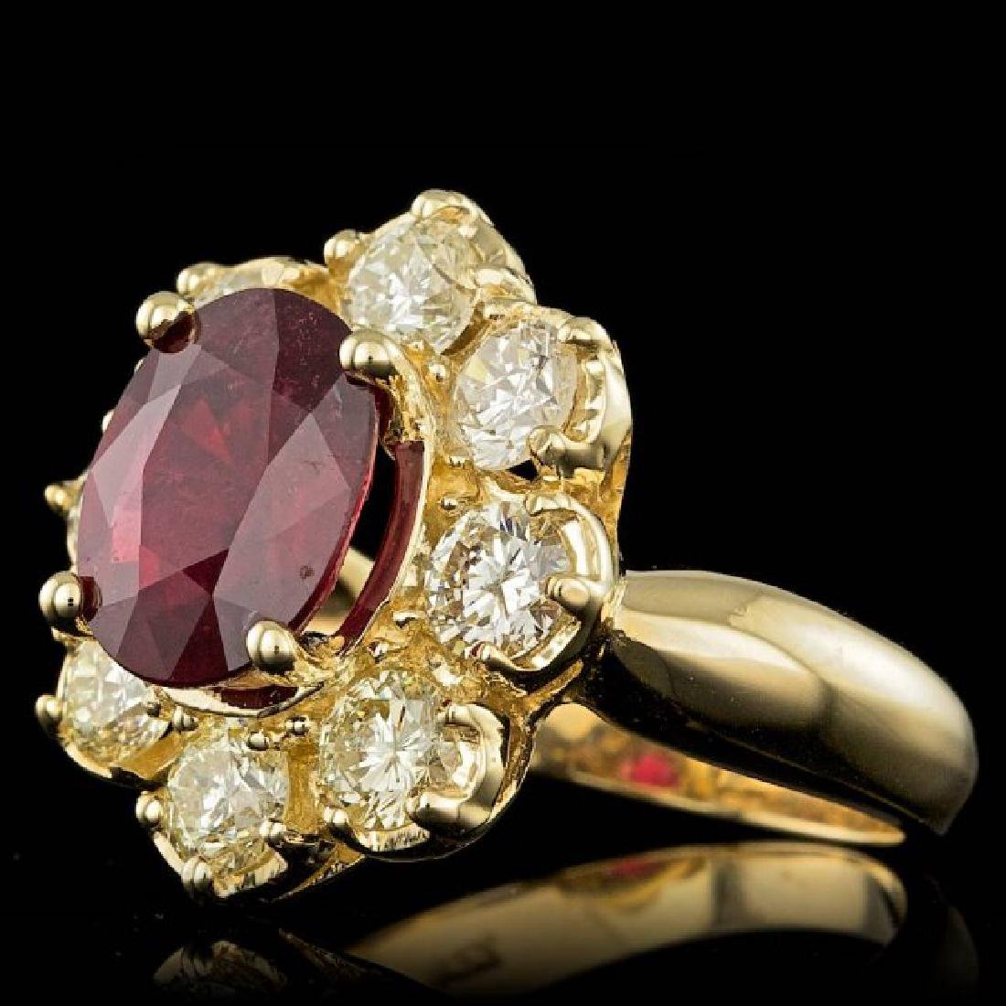 14k Yellow Gold 3.00ct Ruby 1.50ct Diamond Ring - 2