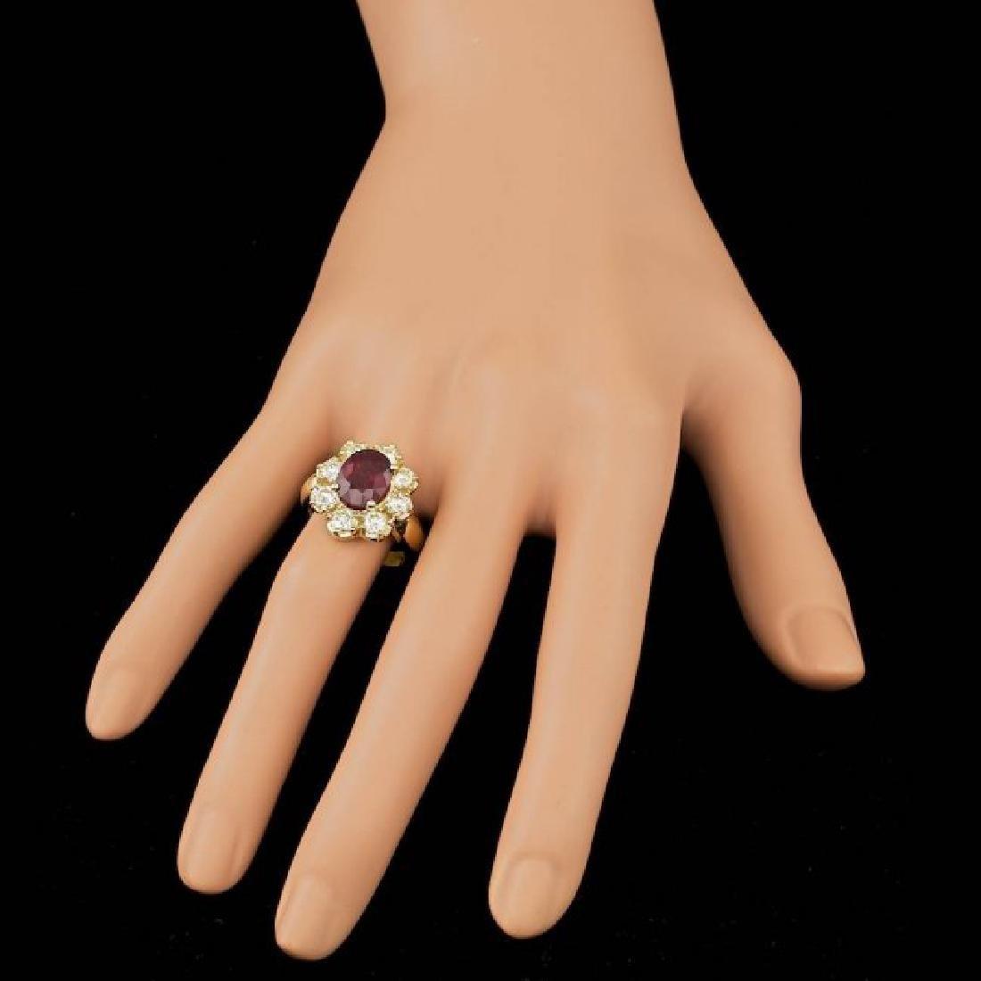 14k Yellow Gold 3.00ct Ruby 1.50ct Diamond Ring - 4