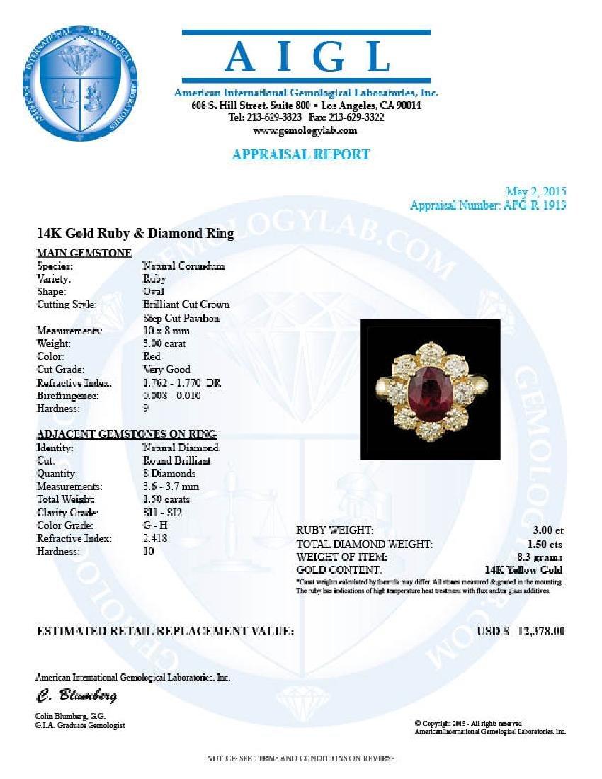 14k Yellow Gold 3.00ct Ruby 1.50ct Diamond Ring - 5