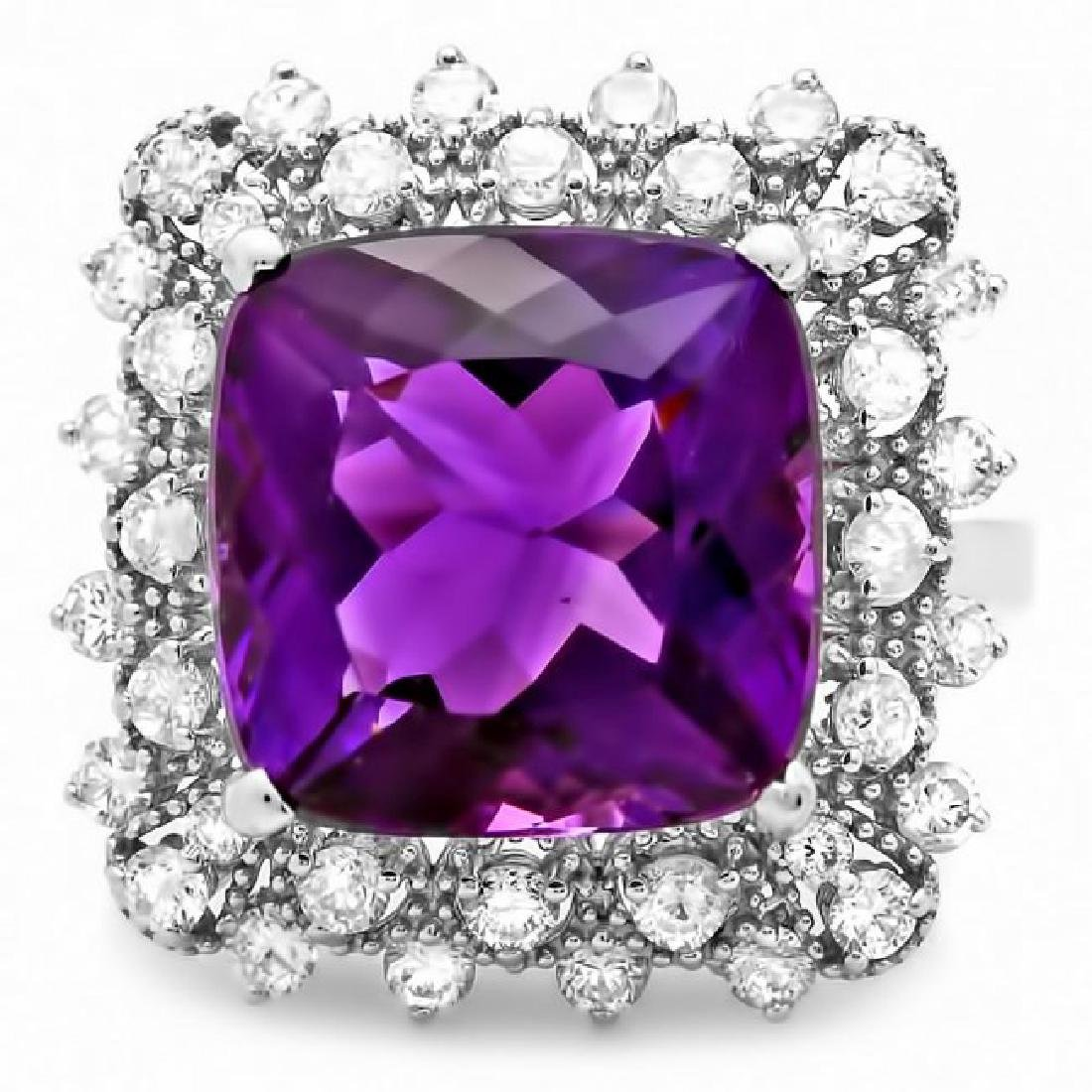 14k Gold 8.00ct Amethyst 1.00ct Diamond Ring - 2