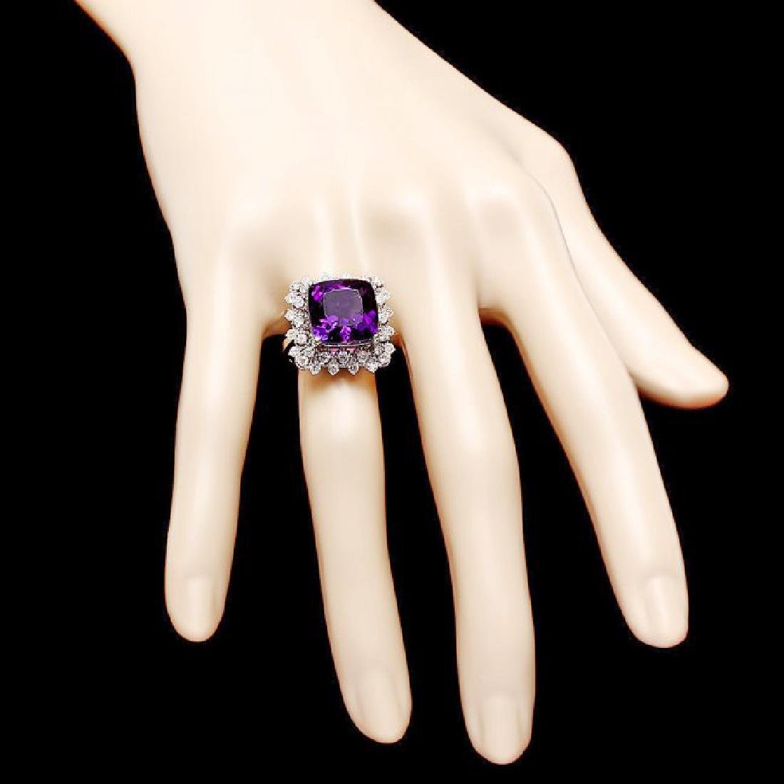 14k Gold 8.00ct Amethyst 1.00ct Diamond Ring - 4