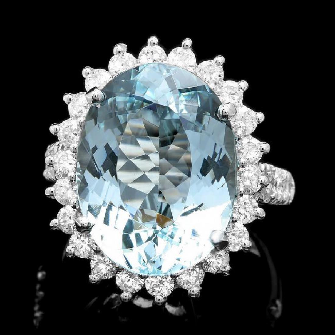 14k Gold 10.50ct Aquamarine 1.50ct Diamond Ring