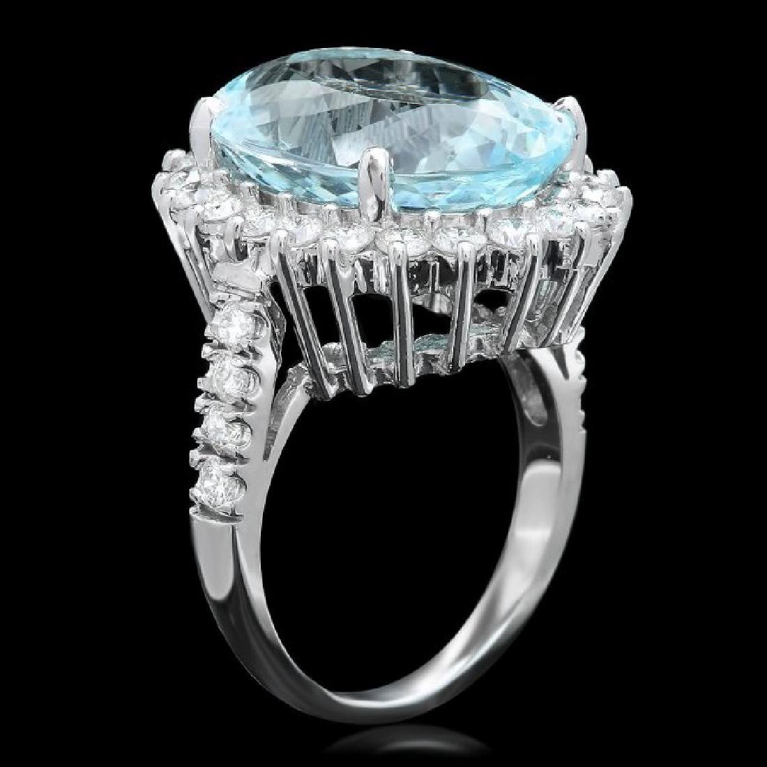 14k Gold 10.50ct Aquamarine 1.50ct Diamond Ring - 2