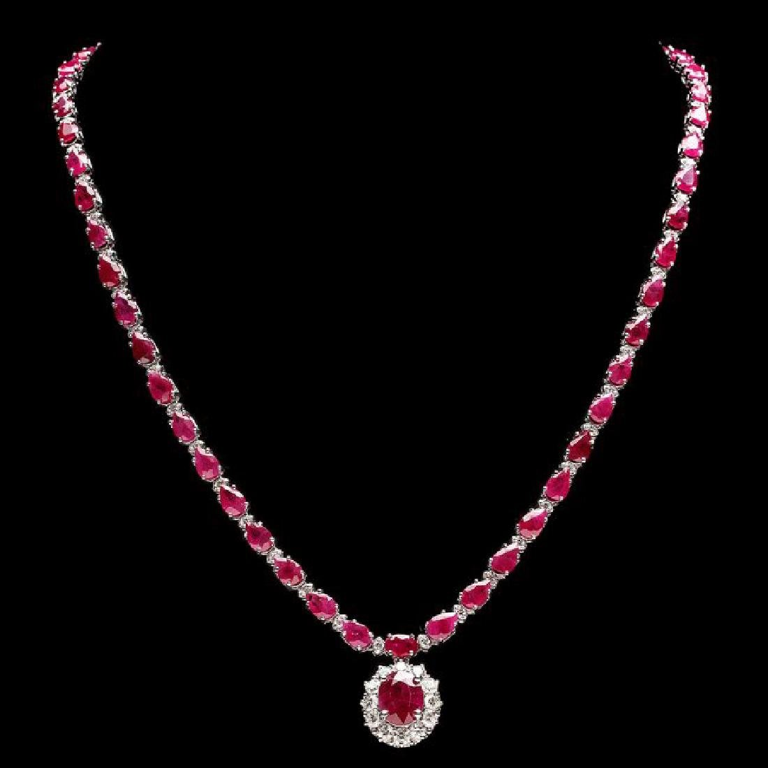 14k White Gold 32ct Ruby 2.50ct Diamond Necklace - 2