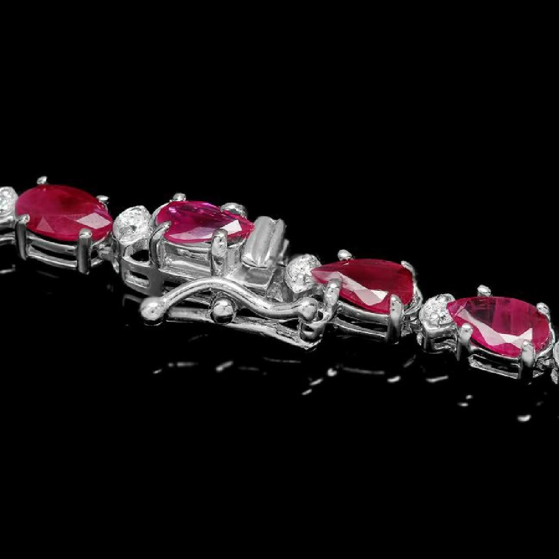 14k White Gold 32ct Ruby 2.50ct Diamond Necklace - 3
