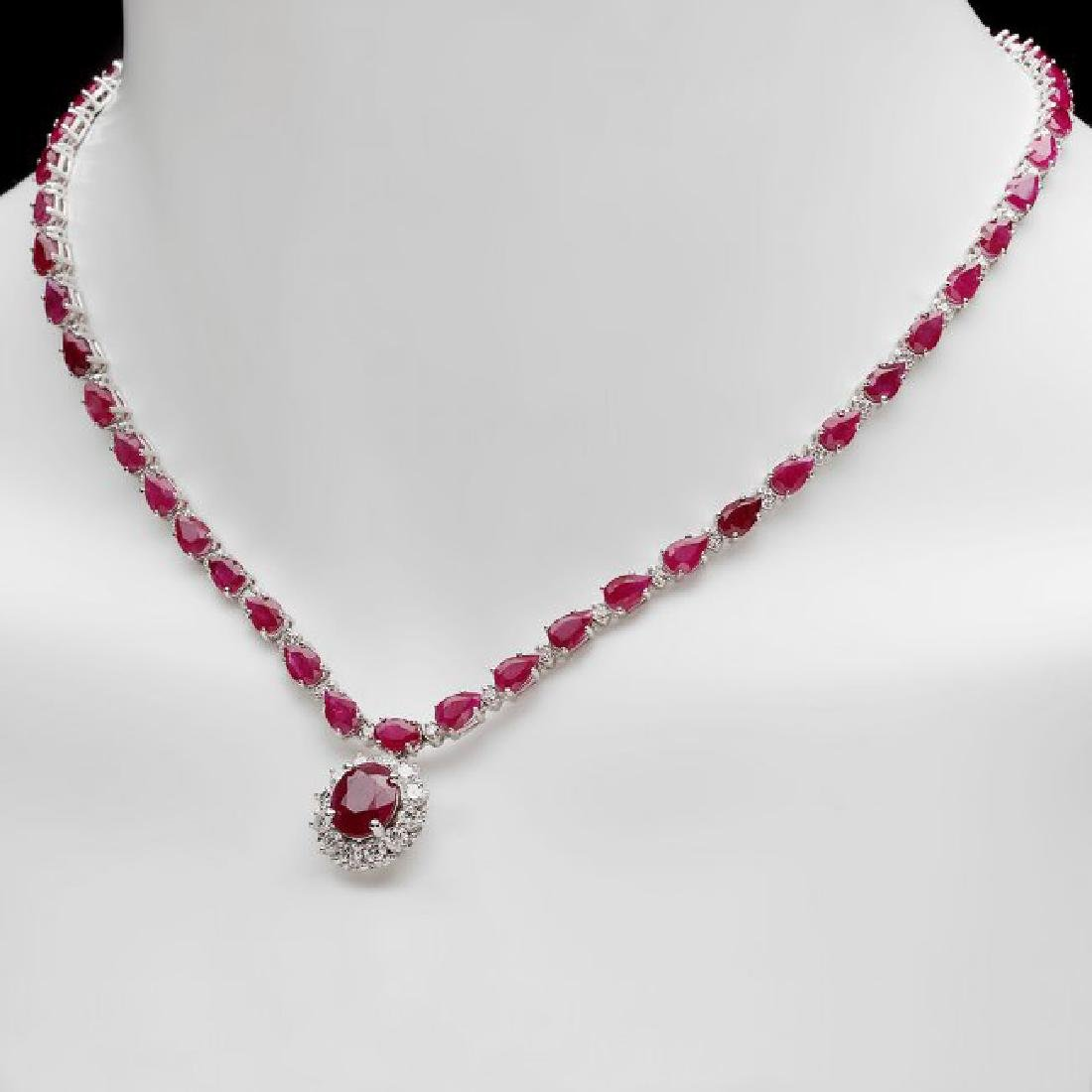 14k White Gold 32ct Ruby 2.50ct Diamond Necklace - 4
