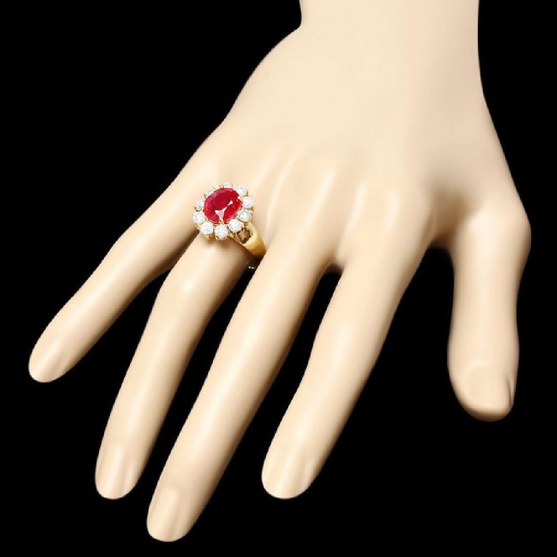 14k Yellow Gold 3.50ct Ruby 1.30ct Diamond Ring - 3