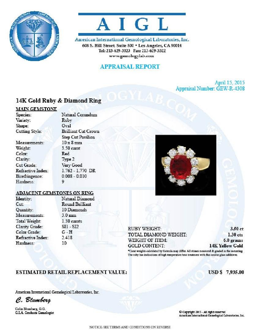 14k Yellow Gold 3.50ct Ruby 1.30ct Diamond Ring - 4