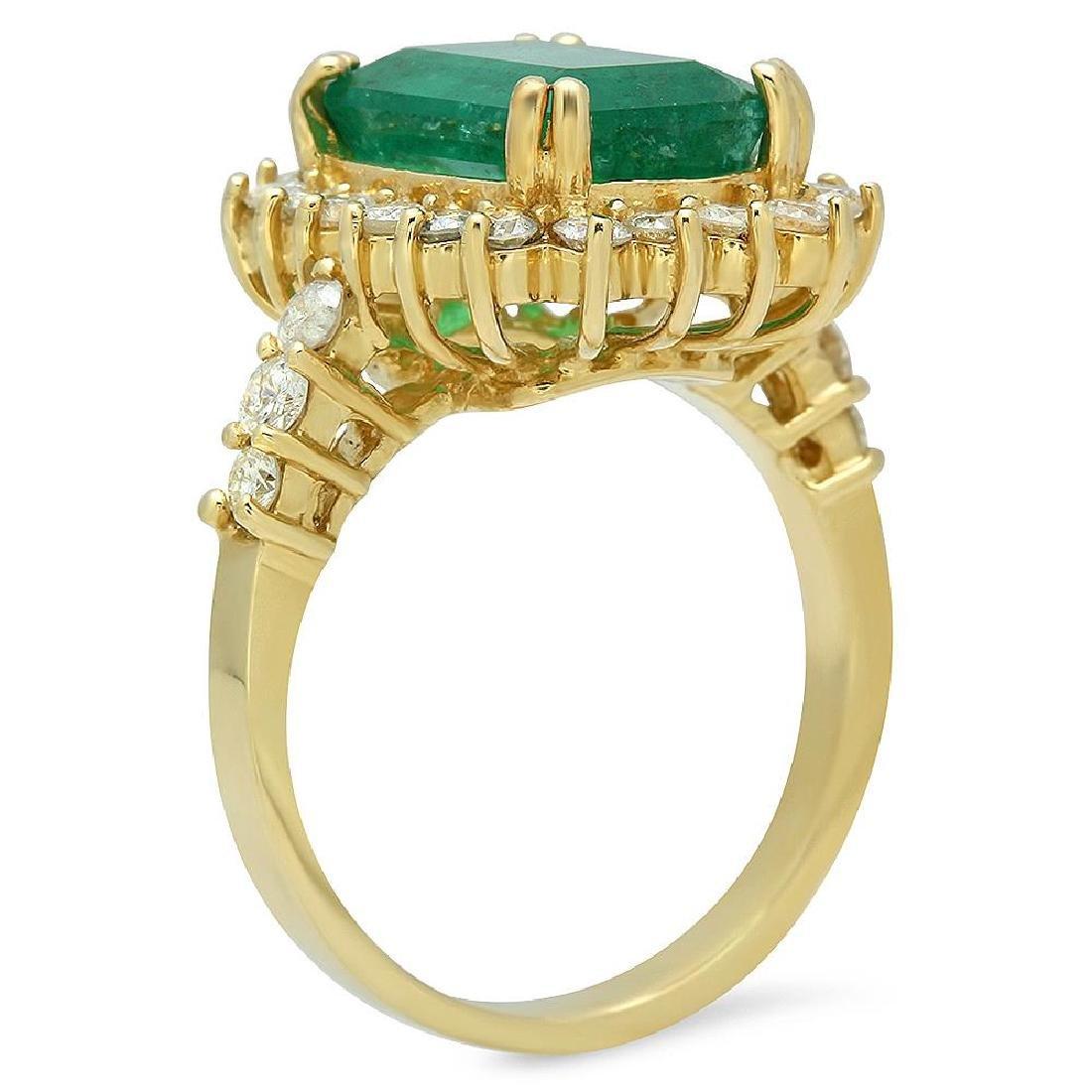 14K Gold 4.20ct Emerald 1.00ct Diamond Ring - 2