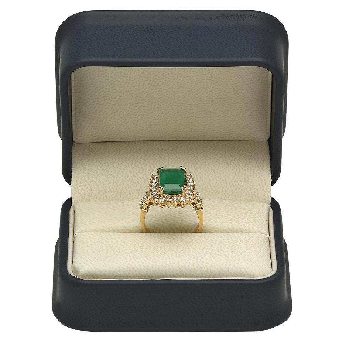 14K Gold 4.20ct Emerald 1.00ct Diamond Ring - 4