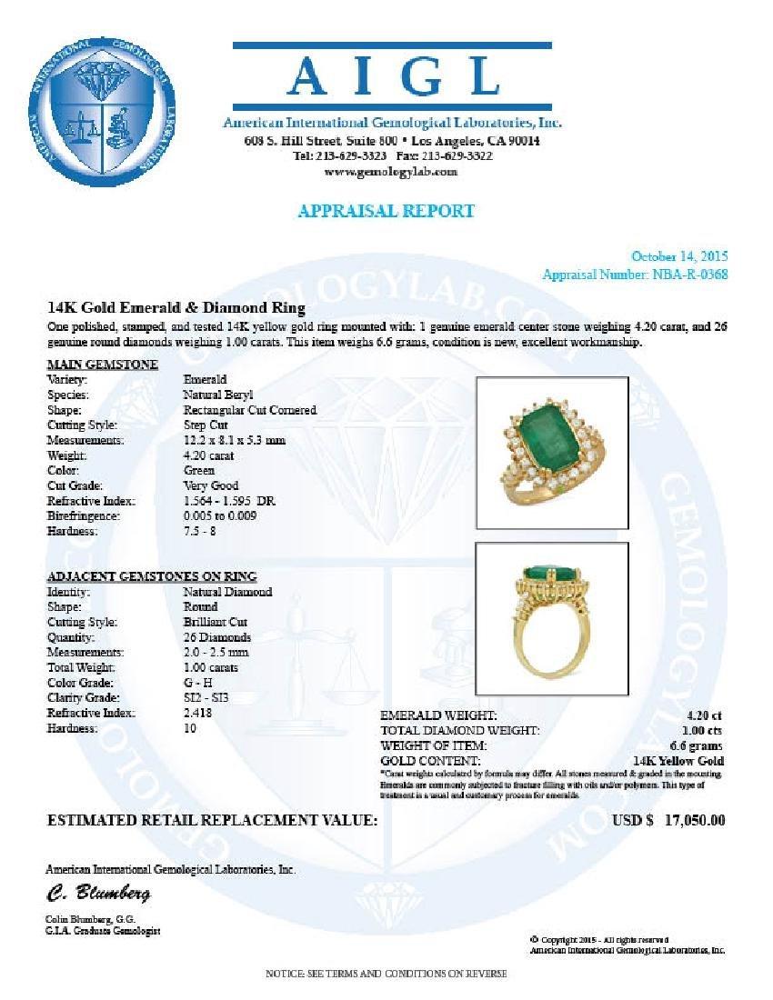 14K Gold 4.20ct Emerald 1.00ct Diamond Ring - 5