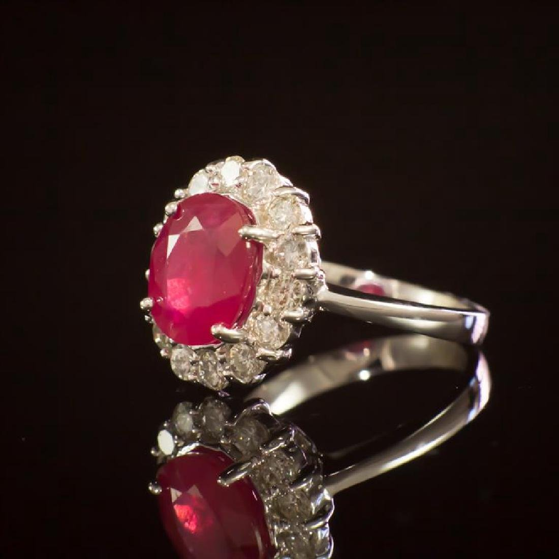 14K Gold 3.96ct Ruby 1.00ct Diamond Ring - 2