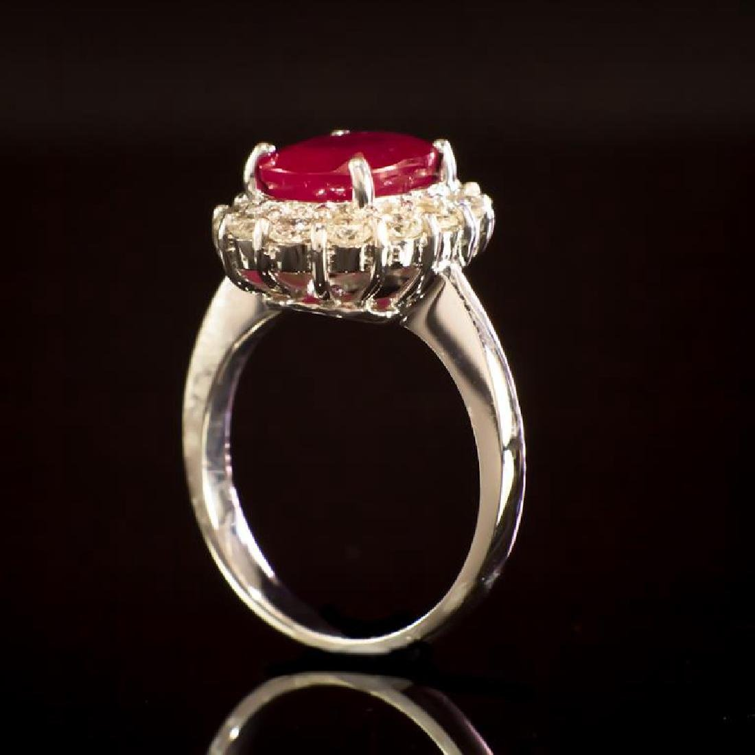 14K Gold 3.96ct Ruby 1.00ct Diamond Ring - 3