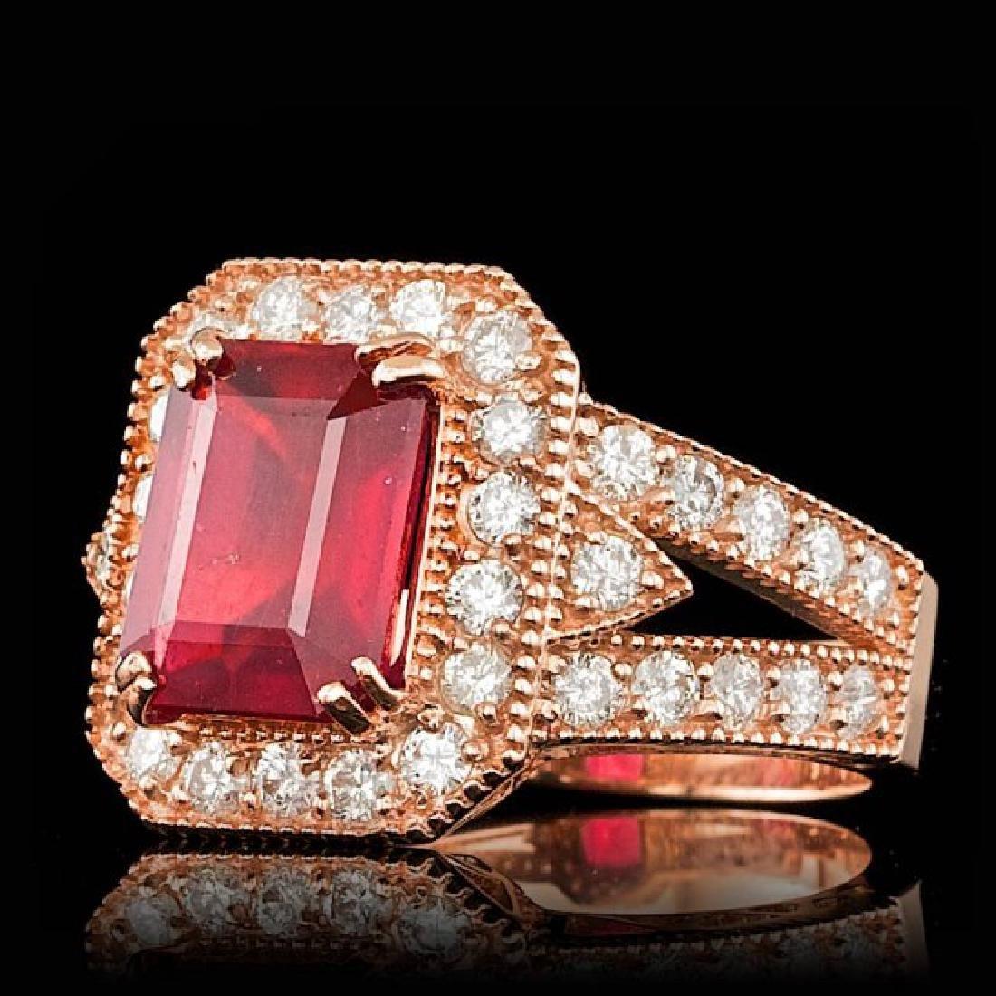 14k Rose Gold 4.00ct Ruby 1.30ct Diamond Ring - 2