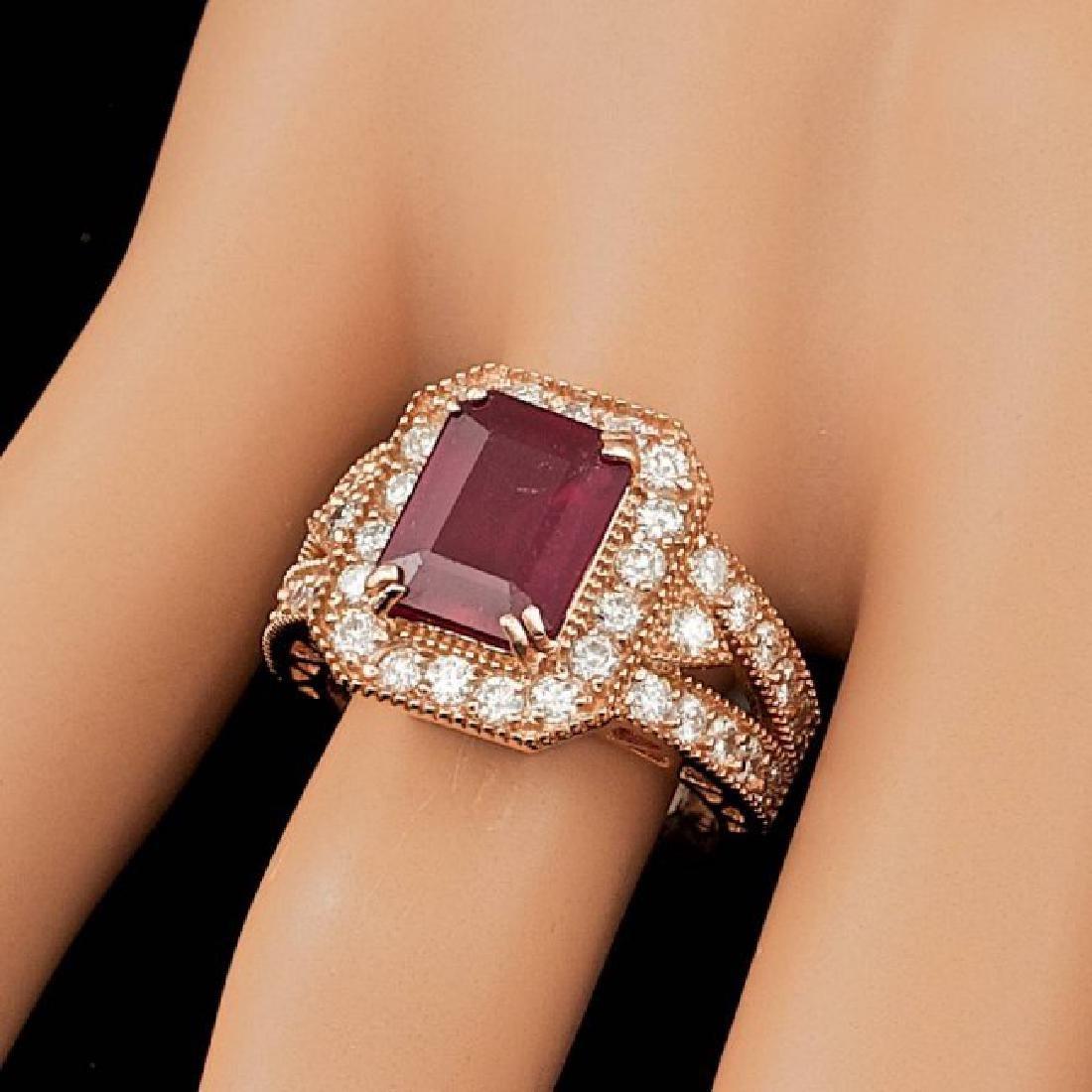 14k Rose Gold 4.00ct Ruby 1.30ct Diamond Ring - 3