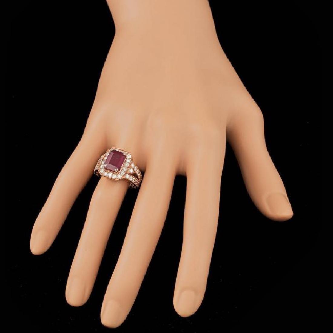 14k Rose Gold 4.00ct Ruby 1.30ct Diamond Ring - 4