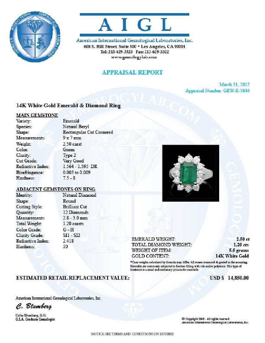 14k White Gold 2.50ct Emerald 1.20ct Diamond Ring - 4