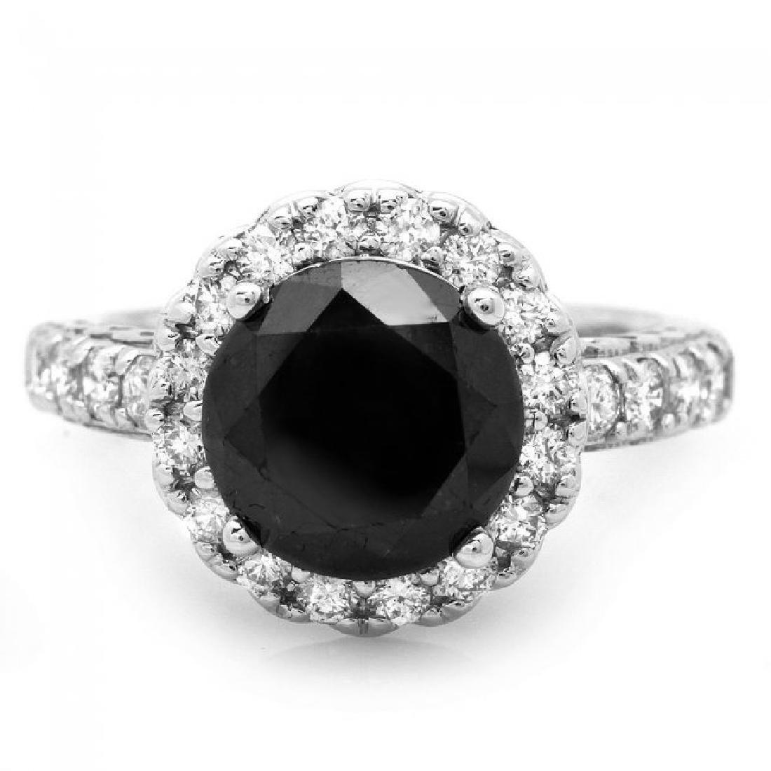 14k White Gold 4.35ct Diamond Ring - 2