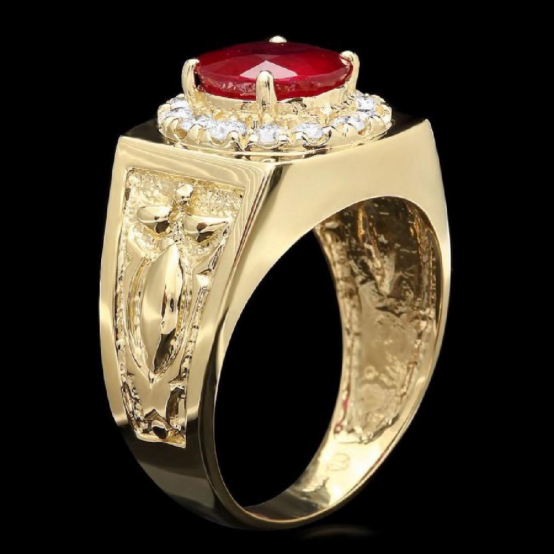 14k Gold 3.00ct Ruby 0.50ct Diamond Mens Ring - 2
