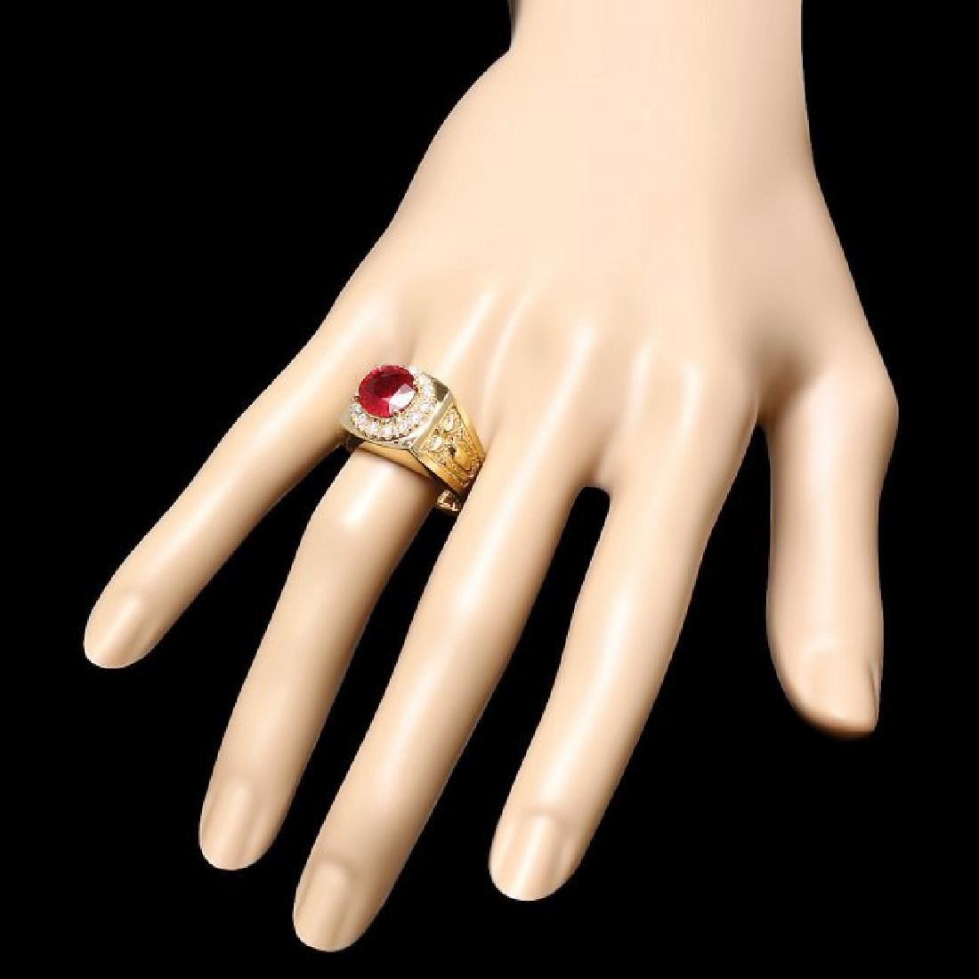 14k Gold 3.00ct Ruby 0.50ct Diamond Mens Ring - 3