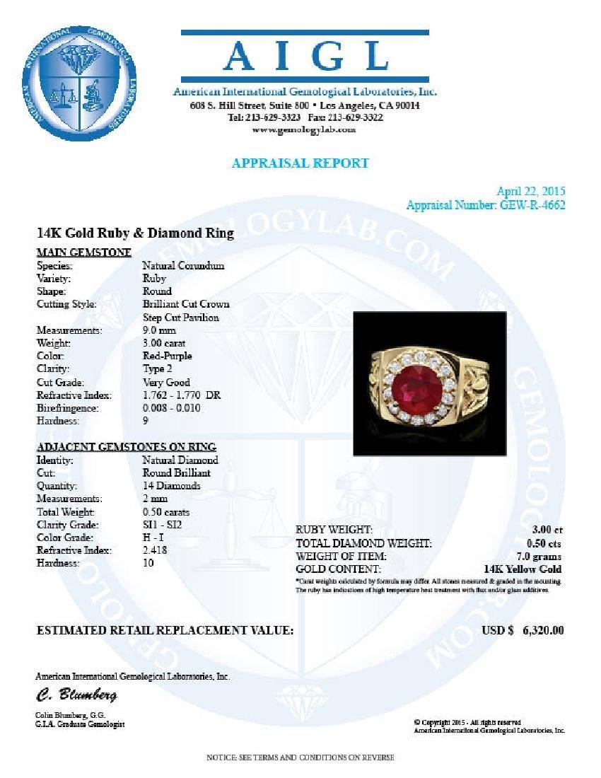 14k Gold 3.00ct Ruby 0.50ct Diamond Mens Ring - 4