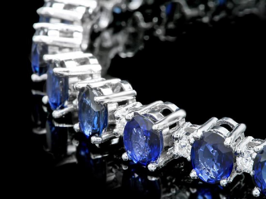 14k Gold 19.00ct Sapphire 2.00ct Diamond Bracelet - 2