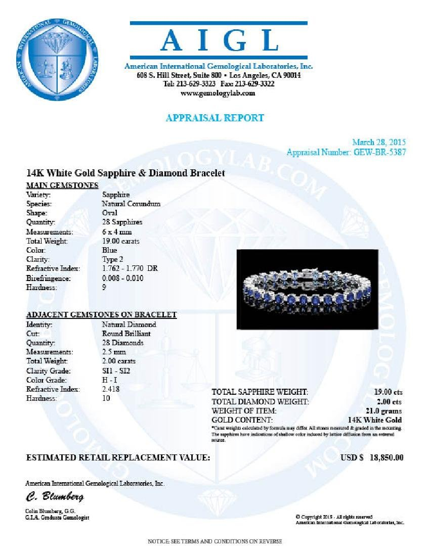 14k Gold 19.00ct Sapphire 2.00ct Diamond Bracelet - 6